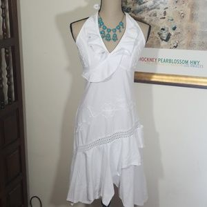White Halter Summer dress, 100% cotton , size S